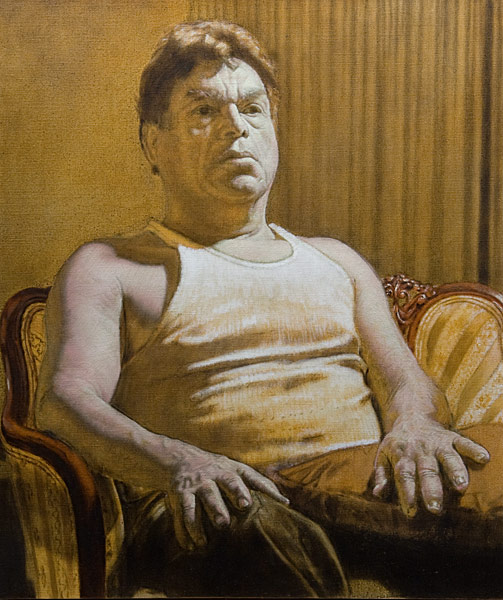 """Roberto Grisaille (oil and egg tempera on linen, 26"""" x 22"""", 2006) Manny Cosentino Paintings, Studies. Indirect painting methods, underpainting, wipeout, grisaille, glazing. Portrait of Roberto in an undershirt, sitting in an old upholstered chair, left as a completed grisaille. Developed from a yellow ochre and black underpainting."""