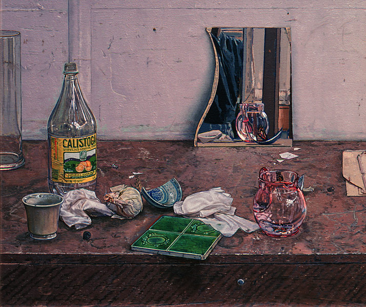"""Studio Still Life 1 (oil on canvas, 24"""" x 30"""", 1993) Manny Cosentino, Paintings. Still life of objects on the counter of the artist's studio, including a pink glass pitcher, a broken mirror, a plastic water bottle, an onion, a green ceramic tile, some crumpled up tissues and a broken blue china rice bowl with a dried butterfly in one half of it. Front facing edge of the counter and thumbtack stuck into it adds an element of Trompe L'oeil."""