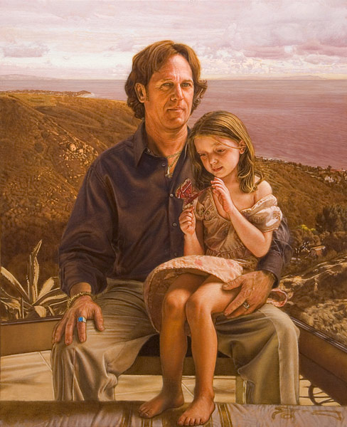 """S&T (oil and egg tempera on linen, 42"""" X 34 1/2"""", 2013) Manny Cosentino, Paintings. Portrait composition of a man and his daughter, on a bluff in Malibu overlooking the Santa Monica bay."""