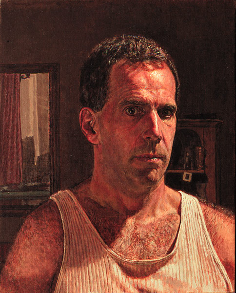 Self Portrait of Manny Cosentino from the shoulders up wearing a tank top tee shirt. The portrait is intensely lit, in a darkened intrior with a mirror and some furniture in the background. ©Manny Cosentino 2004.