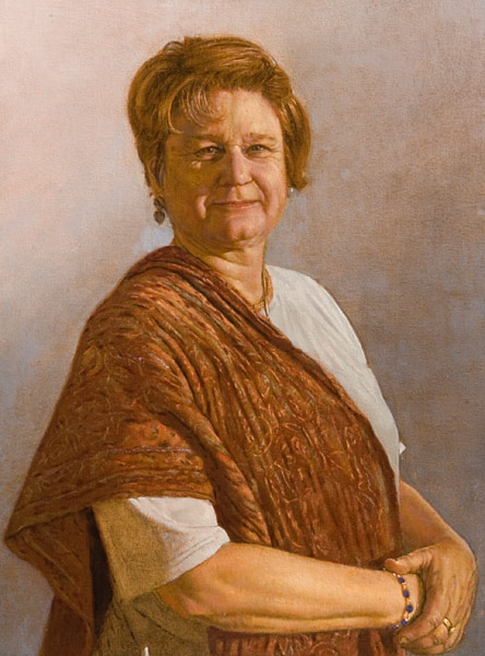 Oil Painting, half length portrait of a woman with her arms folded on her waist. She wears a shawl made of Indian fabric. Indirect painting, grisaille and glazing.©Manny Cosentino 2007.