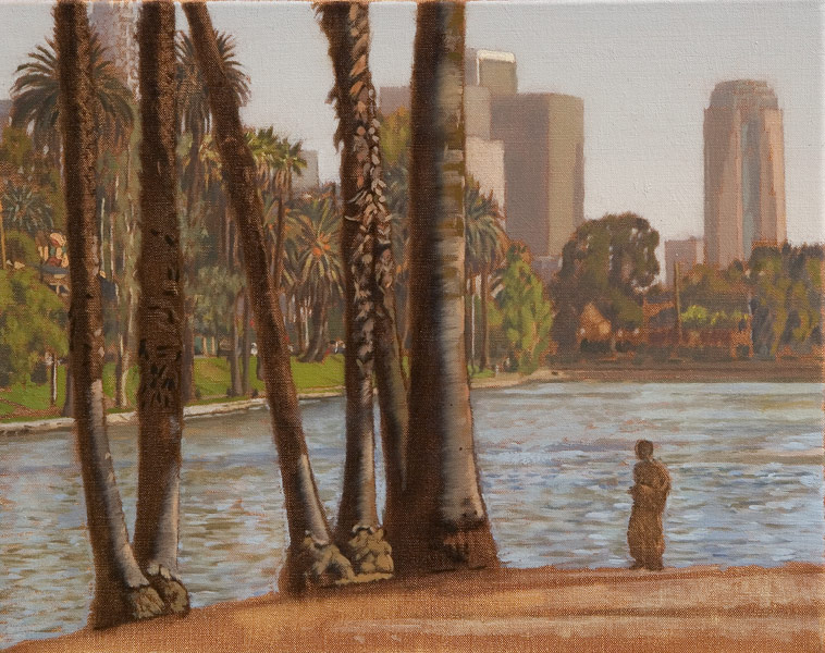 """Serenade in C (oil on canvas, 16"""" x 20"""", 2009) Manny Cosentino Paintings. Plein Air late afternoon view of Echo Park Lake with a homeless person in the foreground and the skyscrapers of downtown Los Angeles in the distance."""