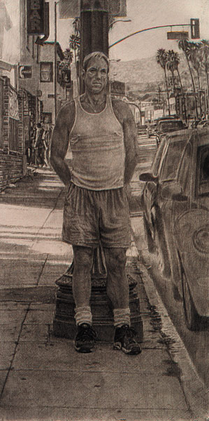 "Study for St. Sebastian on Sunset #1 (pencil on bristol, 30"" x 15"", 2002) Manny Cosentino"