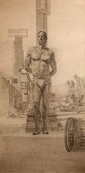 "Study for St. Sebastian on Sunset #2 (pencil on bristol, 30"" x 15"", 2002) Copyright © Manny Cosentino 2002"
