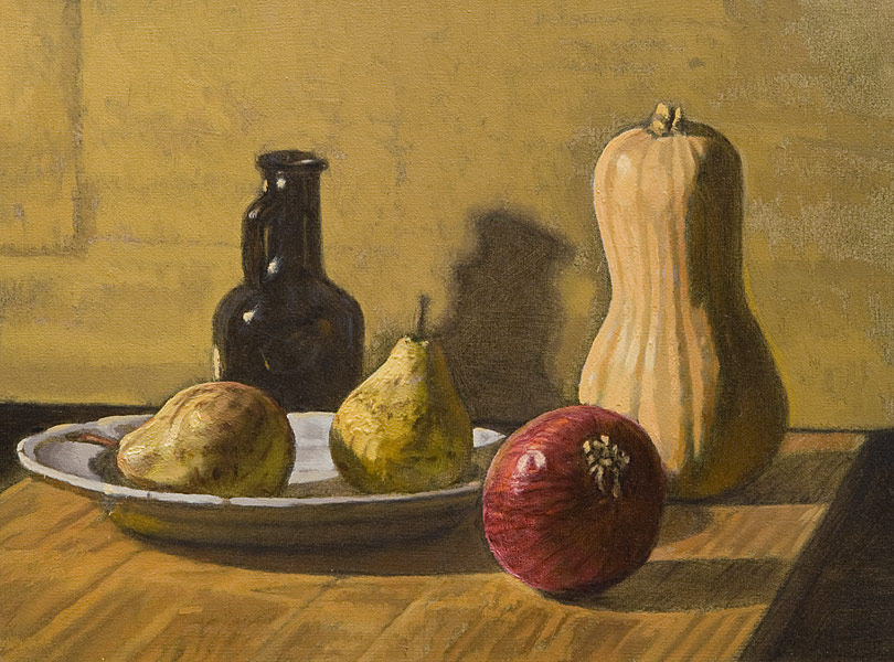 Still Life Demo 3. Oil painting, still life. Simple still life set out on a cutting board: two pears, a red onion, a butternut squash, a small black bottle, a blue plate. Grisaille, glazing, light logic. © Manny Cosentino, 2016.