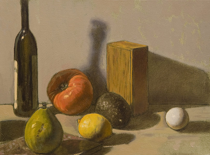 Still Life Demo 2. Oil painting, still life. Simple still life: tall slender bottle, tomato, egg, pear, lemon, avocado, wooden box and a tile set on a white surface against a white background. Wipeout, underpainting and direct painting techniques. Transparent shadows, opaque lights. © Manny Cosentino, 2016.