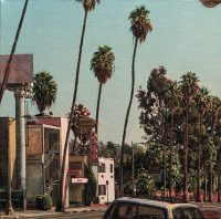 "Sunset Pacific Motel (oil on linen, 24"" x 24"".) Paintings. Plein Air urban landscape of a delapidated motel and the surrounding palm trees on Sunset Boulevard, in the Silverlake section of Los Angeles.© Manny Cosentino, 2002"