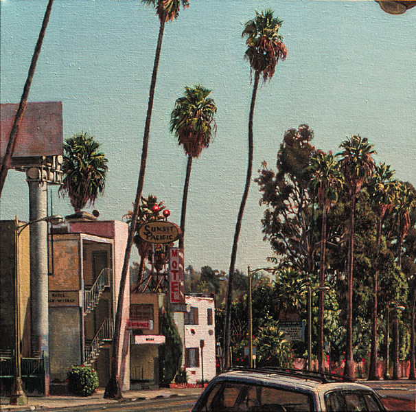 Sunset Pacific Motel. Oil painting. Plein air painting of the Sunset Pacific Motel on Sunset Boulevard and the corner of Bates Avenue, in East Hollywood, CA. The motel, which was still operating when the image was painted, sits on the side of a row of tall lanky Washingtonia palms, with the large metal post of a billboard flanking its right edge. The top of a mini van is seen in the bottom right corner of the composition, and in the top right corner a small part of a streetlight appears. Midday light. © Manny Cosentino, 2002
