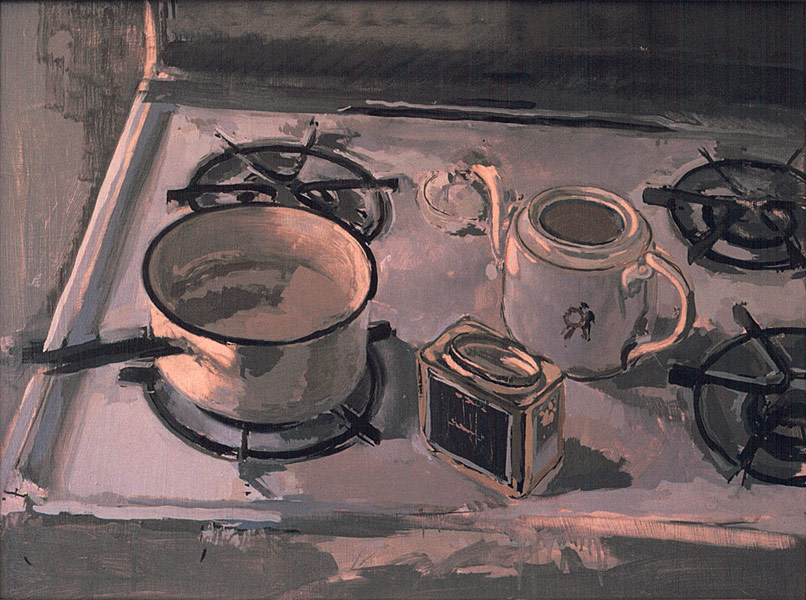 Tea Still Life. Oil painting, still life. An old white enamel pot for boiling water, a porcelain tea pot with a small Chinese figure on it, and a box of English tea, all randomly happened upon on top of a gas stove. Cool afternoon light, blues, off whites and violets. © Manny Cosentino, 1983.