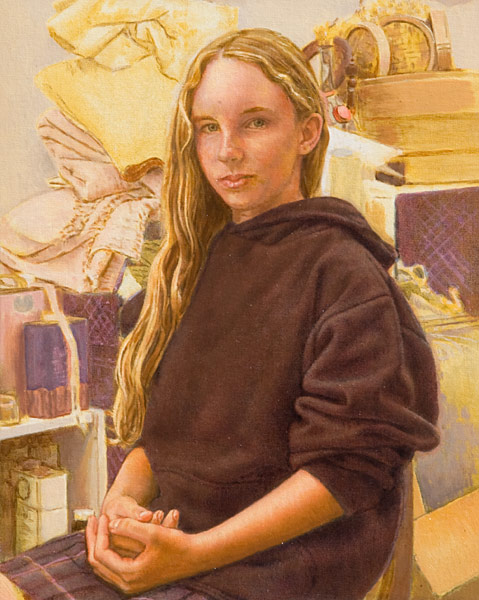 Oil painting, half-length portrait of a young girl surrounded by fabric remnants and bric a brac in the artist's studio. Indirect painting techniques, glazing and scumbling. ©Manny Cosentino 2006.