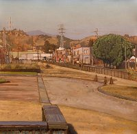 "The Cornfield (oil on parer, 19"" x 19"",) Paintings, Urban Landscapes. Plein Air study of the ""Cornfield,"" aka Los Angeles State Historic Park, in 2009, looking north along Spring street. © Manny Cosentino, 2009"