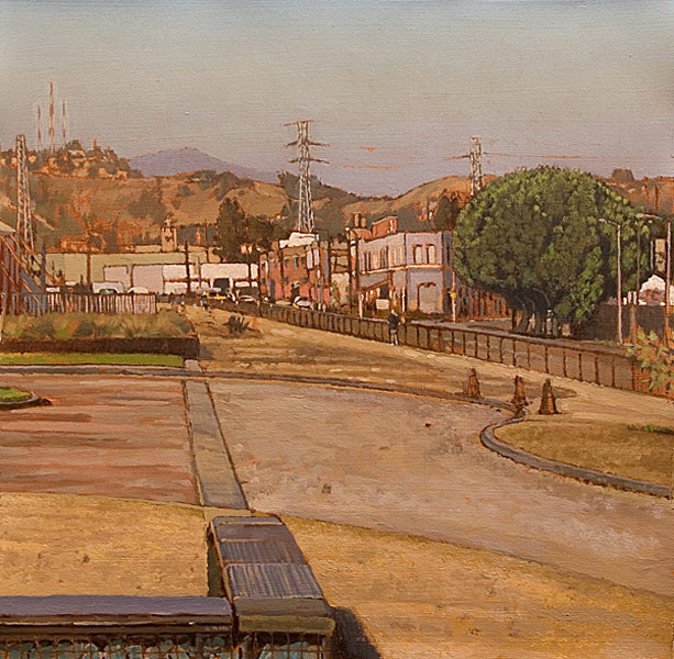The Cornfield. Oil painting, plein air study on paper created in Los Angeles State Historic Park. Looking north near the park's edge on N. Spring Street towards the hills above Lincoln Heights, one sees a jogger on the track, a stand of Ficus trees and some industrial buildings across the street in the distance. © Manny Cosentino, 2009