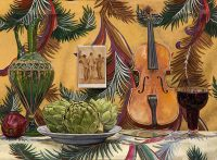 """Three Artichokes and a Violin (oil on linen, 22"""" x 30"""", 1997) Manny Cosentino, Paintings. Still Life with three artichokes, a glass of red wine, an apple, a violin, a green glass decanter and a patterned background, to which is affixed a postcard photo of three male nudes, seen from behind, by Wilhelm Von Gloeden."""