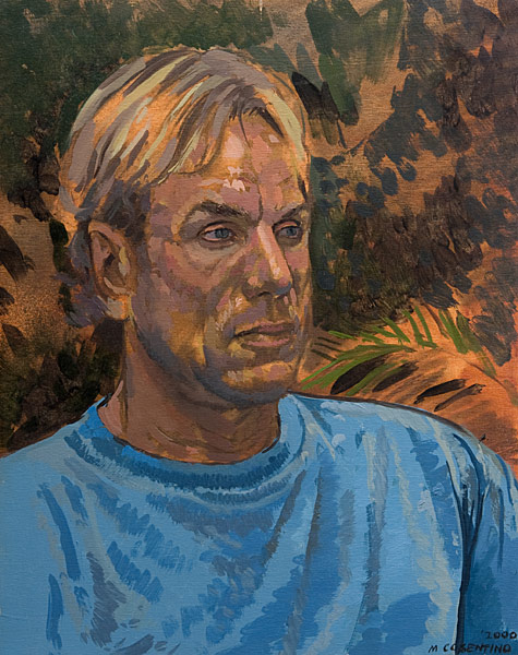 """Tim Portrait Study (oil on canvas, 20"""" X 16"""", 2000) Manny Cosentino, Paintings, Studies. Portrait study of Tim outside on his patio, wearing an aqua-blue tee shirt."""