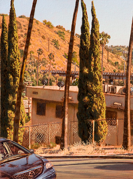 Arroyo Glen Drive. Oil painting, plein air study from the corner of Figueroa Street and Arroyo Glen Drive in Highland Park, Los Angeles, CA. Looking south-east through the cypress and palm trees over the Arroyo Seco with the Santa Fe Arroyo Seco railroad bridge and Santa Fe Hill in the distance. Late afternoon light. © Manny Cosentino, 2015