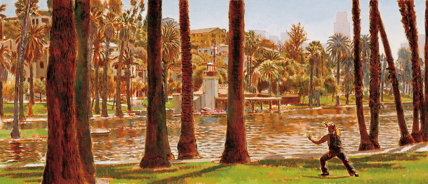 """Echo Park MTA Poster. Oil on linen, 11"""" x25"""", 2004 Manny Cosentino, Paintings. Plein air view of Echo Park Lake,looking southeast, with a figure doing tai chi in the foreground. Commissioned by the MTA of Los Angeles and made into a poster that was used on buses and subways as part of the Metro neighborhoods poster series."""