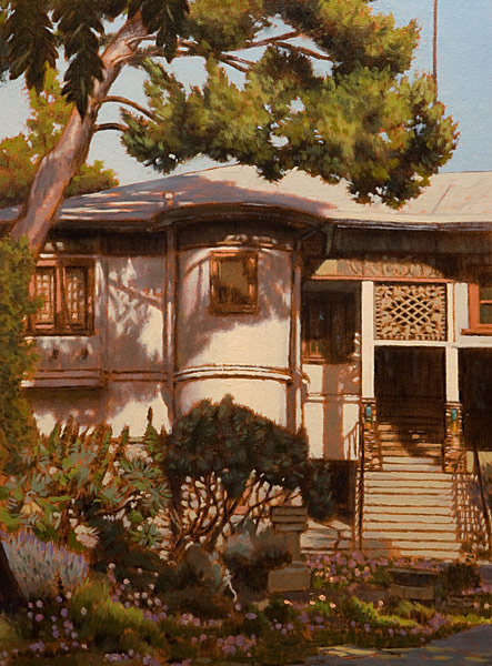 Judson Studios Study. Oil painting, study of the Judson stained glass studios in Highland Park, Los Angeles, CA. View of the historic building (over 100 years old,) in the late afternoon light, with a pine tree and other shrubbery in the foreground. ©Manny Cosentino 2014