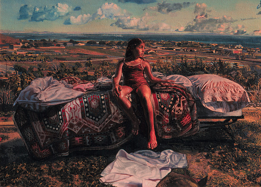 Portrait in a Landscape. Oil painting. Single figure composition. A young girl in a red satiny bathing suit sits on a bed that is outside in a landscape. The composition has the feeling of an altarpeice with the symmetrical arrangement of two pillows on either side of the figure and the drapery below her feet, and the frontal alignment of the bed and its ornate covering. ©Manny Cosentino, 1980.