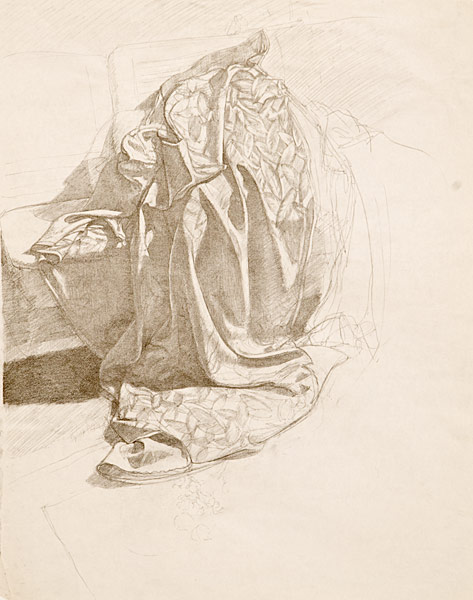 "Drapery Study 2 (pencil on paper, 24"" X 18"", 1980) Manny Cosentino Drawings"