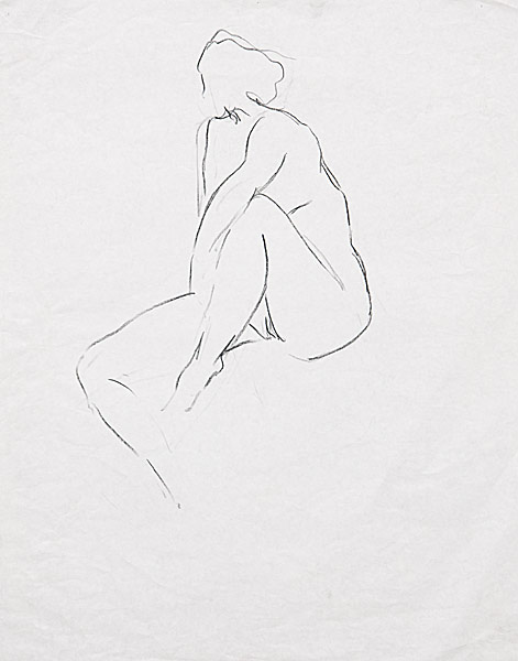 "Gesture Contour Study (crayon on paper, 24"" X 18"", 1980) Manny Cosentino Drawings"