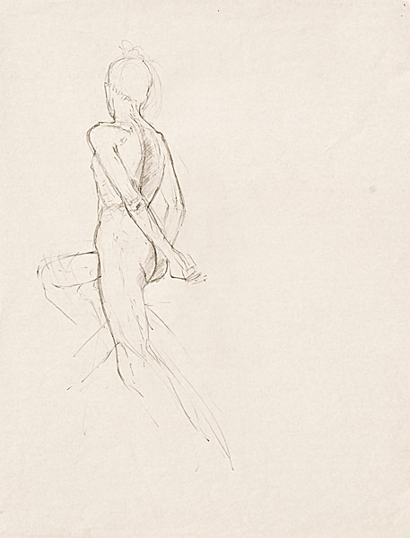 "Male Torso Study (pencil on paper, 24"" X 18"", 1990) Manny Cosentino Drawings"