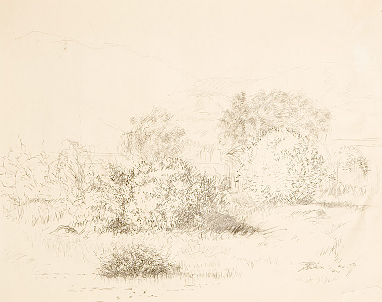 "Malibu Lagoon (pencil on paper, 18"" X 24"", 1983) Manny Cosentino Drawings"