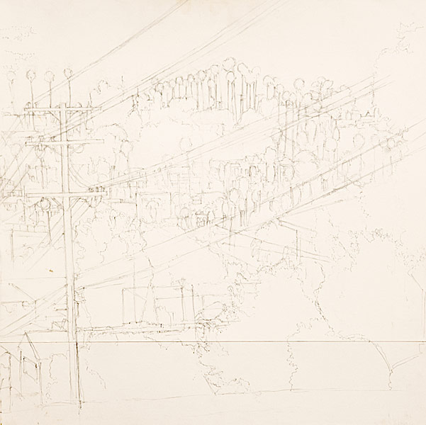 "Micheltorena Street (pencil on bristol board, 24"" X 24"", 2001) Manny Cosentino Drawings"