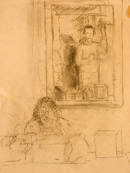 The Singing Lesson. Drawing, charcoal. Self-portrait study of the artist at a singing lesson with Louise Caselotti. Caselotti sits at a spinet piano and is in her mid-eighties here. Her sister, Adriana Caselotti was the voice of Walt Disney's Snow White. In 1946-1947, Louise Caselotti taught a then unknown Maria Callas in New York City and played a pivotal role in helping Callas to get her first engagement to sing in Italy. © Manny Cosentino, 1996.