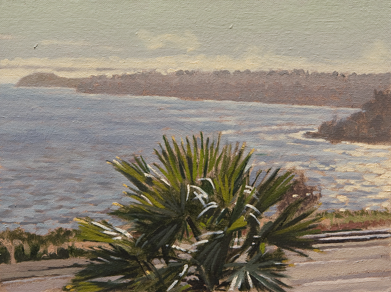 Point Dume, Late Afternoon. Oil painting, plein air view of Pt. Dume in Malibu, from Puerco Canyon near PCH, in the late afternoon. © Manny Cosentino 2017.