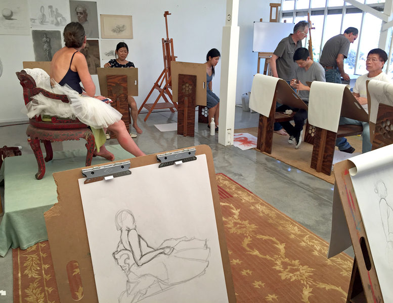 Ryman Arts Drawing Party and fundraiser hosted by Manny Cosentino in his Malibu art studio, July 2017. © Manny Cosentino