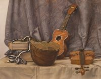 "Ode to Evaristo (oil on paper, 19"" X 25"", 2017) Still life with a mandolin, a violin and a ukulele, in the style of 17th century Italian Baroque painter Evaristo Baschenis. Set against blue drapery, on  a table-top covered with grey fabiric. © Manny Cosentino 2017"