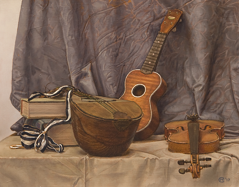 Ode to Evaristo. Oil painting, still life. A mandolin, a violin, a ukulele, some books and a piece of ribbon set on a table against some blue drapery. Conceived and executed in the style of 17th century Italian Baroque painter Evaristo Baschenis. © Manny Cosentino, 2017