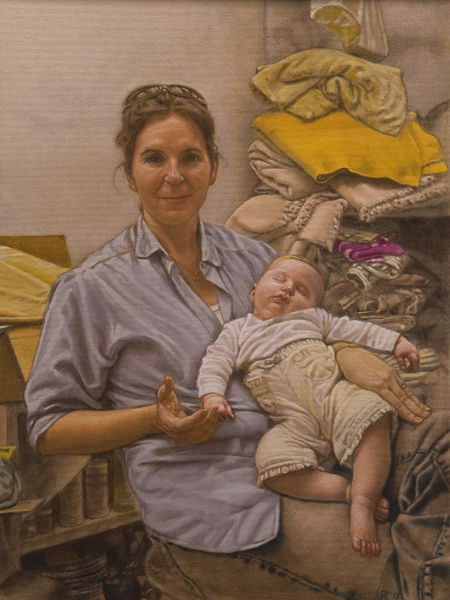Material Madonna. Classically inspired portrait of a new mother and child in an artist studio surrounded by studio objects and fabric remnants. © Manny Cosentino 2017