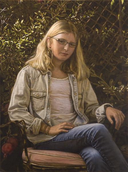 "Portrait with Pomegranates (oil on linen, 24"" X 18"", 2018)"