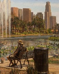 "RD on the Lake (oil on canvas-board, 20"" X 16"".) Paintings, Urban Landscapes. Portrait of a friend seen from behind, sitting on a bench on Echo Park Lake in Los Angeles. The skyline of downtown Los Angeles is in the background.  © Manny Cosentino 2018"