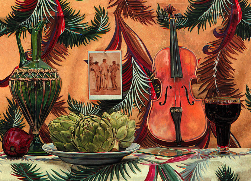 Three Artichokes and a Violin. Oil painting. Still Life with three artichokes, a glass of red wine, an apple, a violin, a green glass decanter and a postcard of a photo of three male Sicilian nudes, seen from behind, by Wilhelm Von Gloeden. The postcard is affixed a lively Hawaiian patterned background. The same pattern appears on the table top, but its base color is off-white as opposed to the tan base color for the pattern on the wall. © Manny Cosentino, 1997.