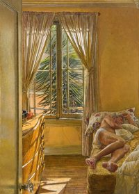 "Alpha and Omega (oil on linen, 36"" x 26"".) Paintings. Figure. Interior with male nude. Yellow ochre palette, Southern California light. ©Manny Cosentino, 2005."