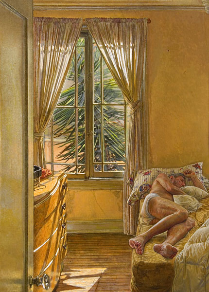 Alpha and Omega. Oil painting, single figure composition. A male figure sleeps on a bed in a room with sunlight entering through the partially opened curtains. Through the window is a Yucca tree. The emphasis in the painting is on the movement of light, from the window to the chest of drawers to the soft indirect light on the figure. The palette consists of Yellow ochre, grey, silvery greens and flesh tones. ©Manny Cosentino, 2005.