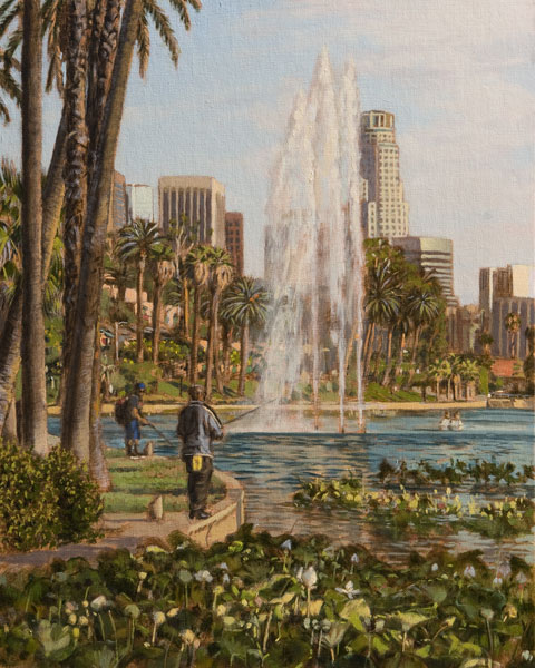 Fishing on the Lake. Oil painting, View of Echo Park Lake, late afternoon, with lily pads and fishermen in the foreground. ©Manny Cosentino 2016