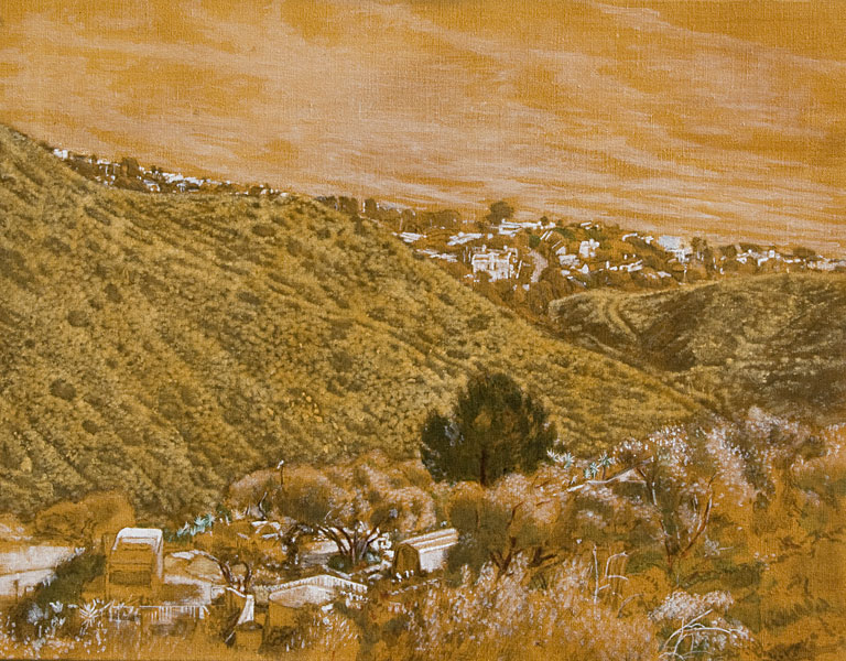 """Malibu Landscape Study for the right side of S&T (oil and tempera on canvas, 22"""" x 28"""".) Paintings, Studies. Underpainting, egg-oil emulsion, glazing. Plein Air, monochramatic Malibu landscape study for the right side of S&T, looking down at the scrub on the Malibu hills and the houses on Broad Beach. Palette consists of raw sienna with touches of green and umber, highlighted with white egg tempera. © Manny Cosentino, 2006."""