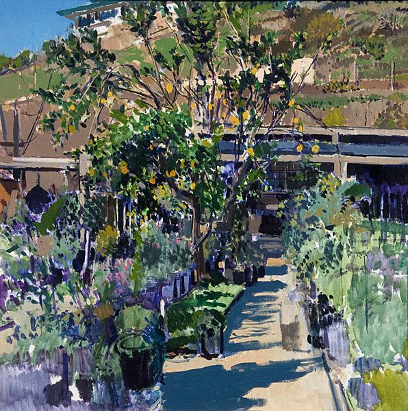 "Malibu Nursery Study (oil on canvas, 24"" x 24"".) Paintings, Studies. Plein air study of a lemon tree and the surrounding plants at the Cosentino Nursery in Malibu, CA. © Manny Cosentino, 1995."
