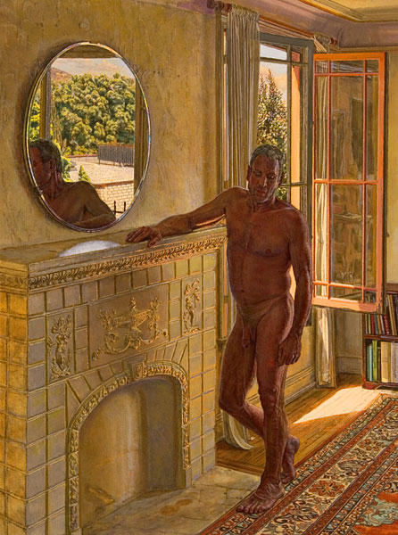 Remembrance of things Past. Single figure composition. A male nude poses by a fireplace that is decorated with classical figure reliefs. There is a round mirror above the fireplace and an open window through which sunlight pours in behind the figure. ©Manny Cosentino, 2005.