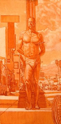 "Saint Sebastian Grisaille (oil and egg tempera on masonite, 24"" x12"".) Paintings, Figure. Modern day St. Sebastian set on Sunset Boulevard in Los Angeles, CA. © Manny Cosentino 2005"