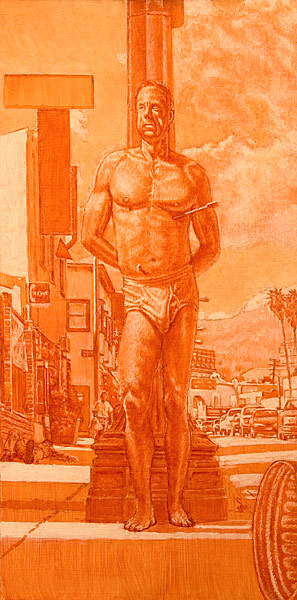 Saint Sebastian Grisaille. Oil painting. Burnt sienna grisaille sketch for modern day St. Sebastian set on Sunset Boulevard in Los Angeles, CA, after Antonello da Messina's composition. St. Sebastian, pierced through with arrows leans against an old light post on Sunset Blvd., just east of where Fountain Avenue crosses it. To the left, a person is passed out on the sidewalk and further back, a figure approaches. To the right, cars in the street are passing by. In the distance one can see the old Vista Movie Theatre and the Hollywood Hills. © Manny Cosentino 2005