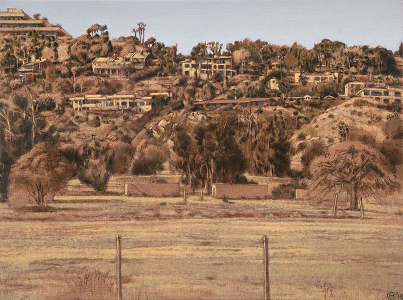 A Meadow in Malibu. Oil painting. Plein air landscape of an empty meadow in Malibu, CA. Houses perched on the hills above. Browns, warm beiges, minimal greens and optical blues are the colors used. © Manny Cosentino, 2019.