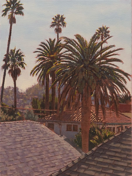 Out Over the Arroyo. Oil Painting, plein air study looking out over the Arroyo Seco toward the hills of South Pasadena. Mid-morning, on a sunny day. Palm trees, nearby rooftops and the distant hills shrouded in haze. ©Manny Cosentino 2019