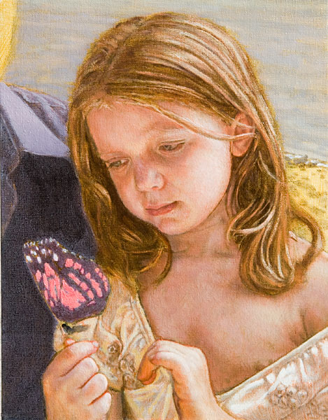 "Child Study. Oil painting. Preliminary test study for the little girl in ""S&T."" She holds a butterfly. Indirect painting methods; grisaille, glazing. © Manny Cosentino, 2007."