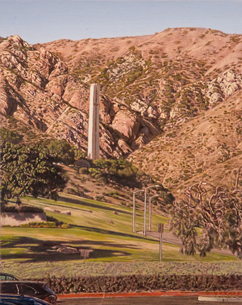 Notre Dame de Malibu. Oil painting, urban landscape. Late afternoon view looking east from Malibu Bluffs Park towards the entrance to Malibu Canyon, with the beatuiful pink rock formations and the surrounding scruffy hills. Rising up in front of the rocks is the Phillips Theme Tower of Pepperdine University. © Manny Cosentino, 2020.