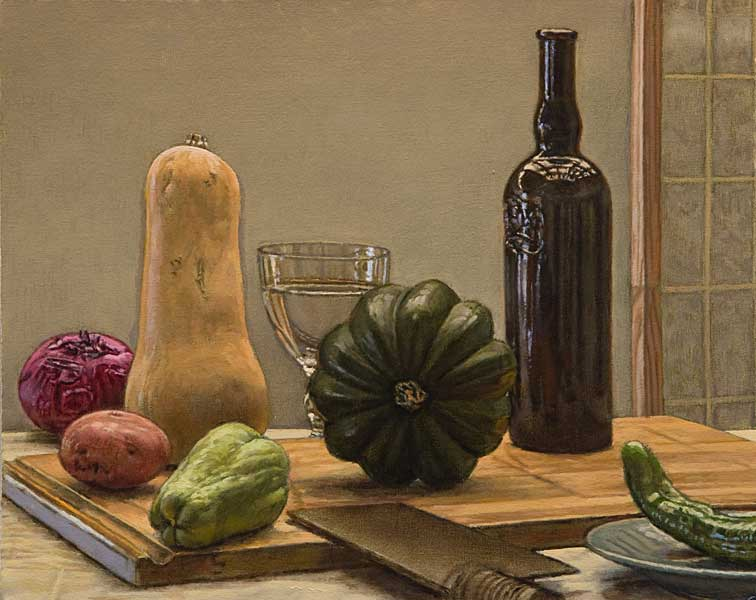 """Still Life with a Green Pepper (oil on canvas board, 16"""" X 20"""", 2020) © Manny Cosentino. Still life of vegetables and other objects on a wooden cutting board set against a grey background. A butternut squash, an acorn squash, a chayote squash, a red potato, a red onion and the tip of a green Anaheim chile pepper are interspersed with a goblet of water, a dark glass wine bottle, a celadon plate and an Asian meat cleaver. One also sees the edge of an Asian screen to the right in the background."""